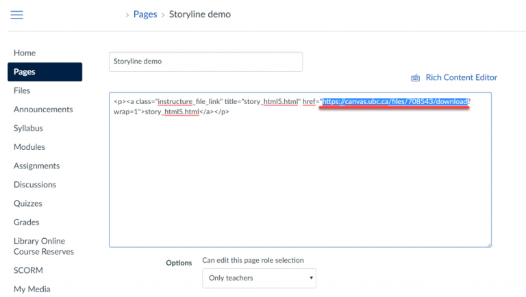 Viewing non-SCORM Articulate Storyline modules in an iFrame in