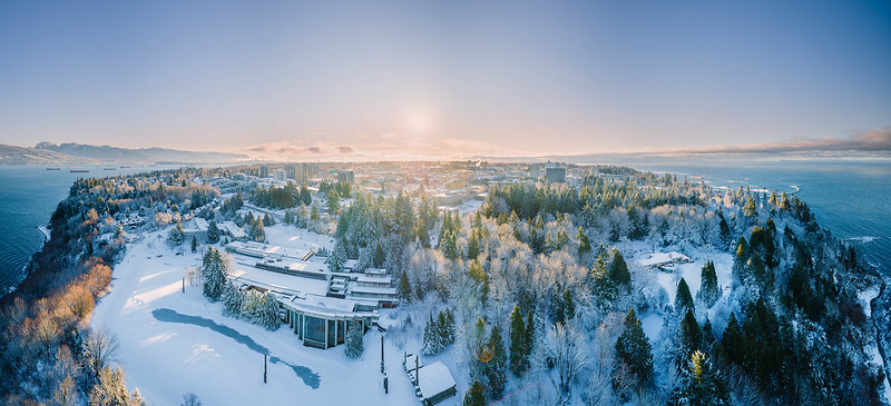 Ariel view of UBC covered in snow